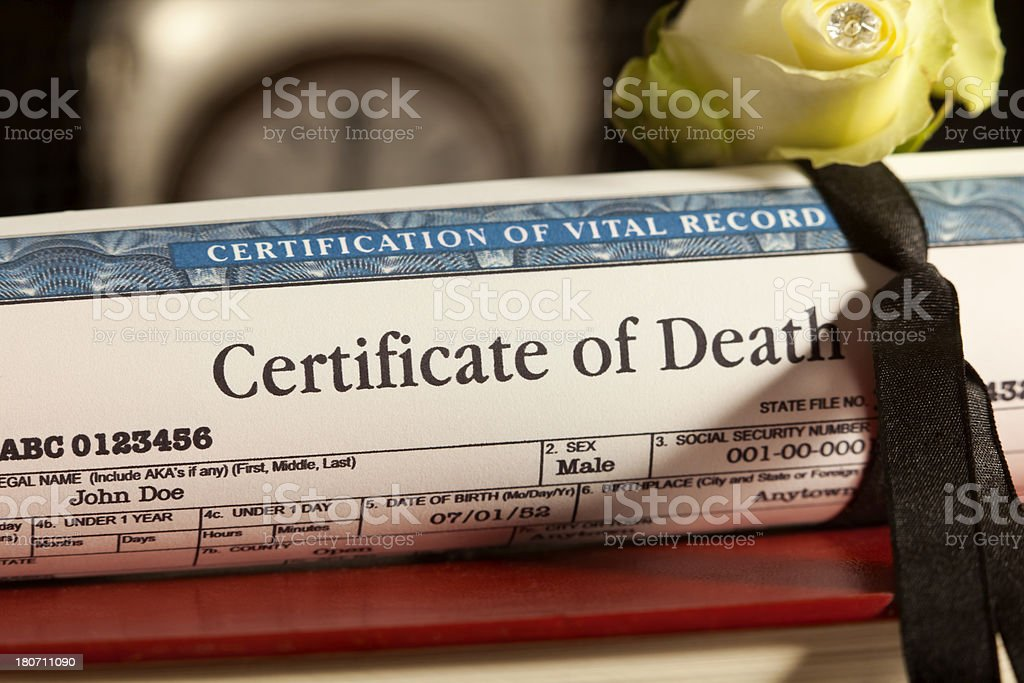 Certifying a Death stock photo