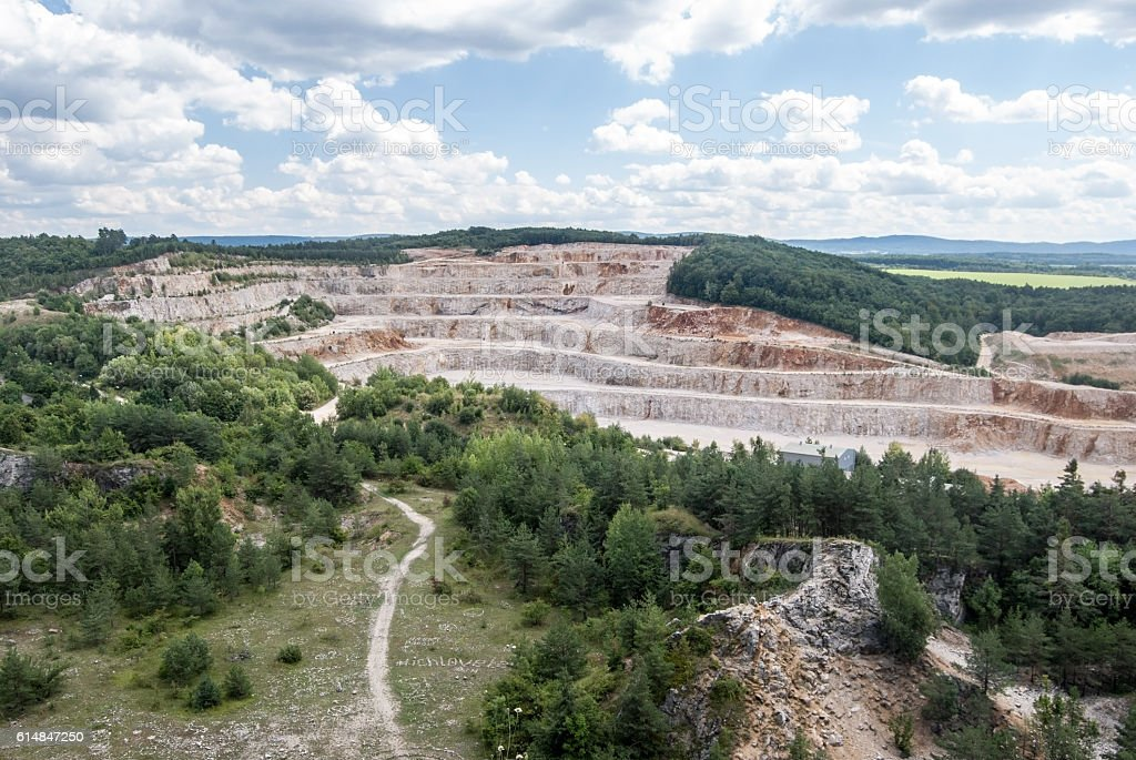 Certovy schody limestone quarry in Cesky kras stock photo