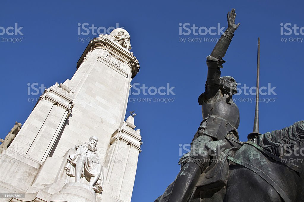 Cervantes Monument in Madrid royalty-free stock photo