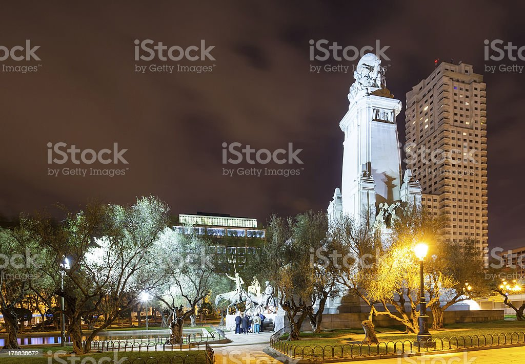 Cervantes Monument in night stock photo