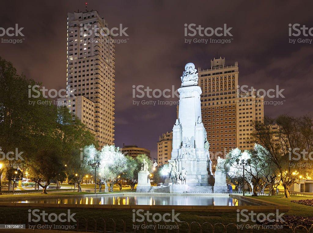 Cervantes Monument in Spain Square at Madrid stock photo