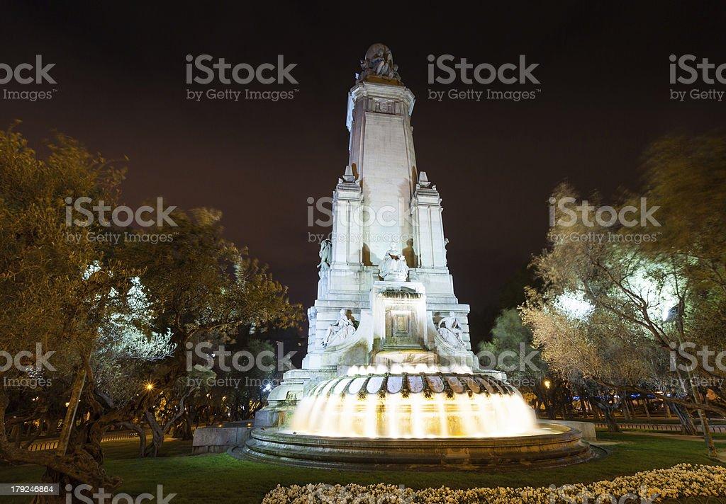 Cervantes Monument in Spain Square stock photo