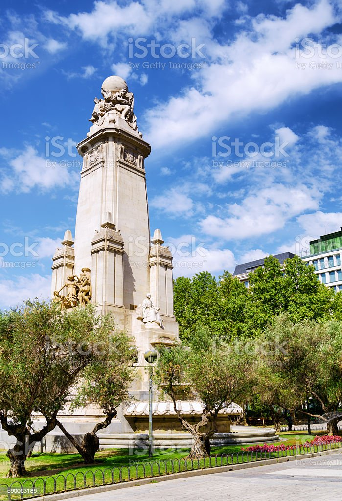 Cervantes monument on the Square of Spain (P stock photo