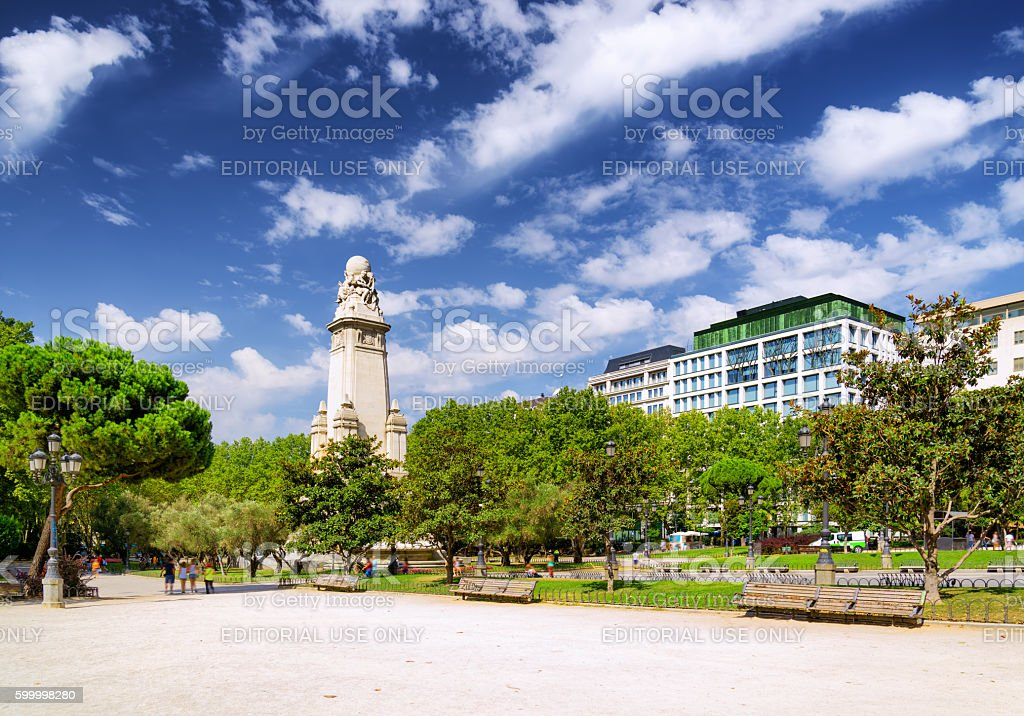 Cervantes monument on the Square of Spain stock photo