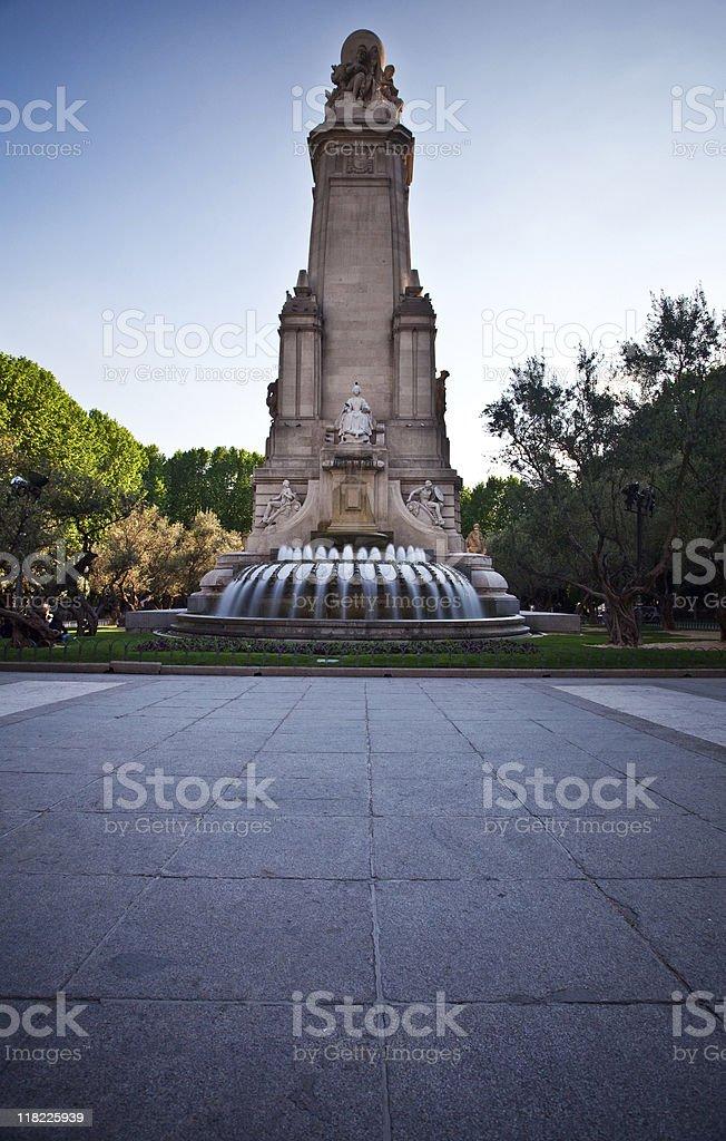 Cervantes Monument, Plaza de Espana stock photo