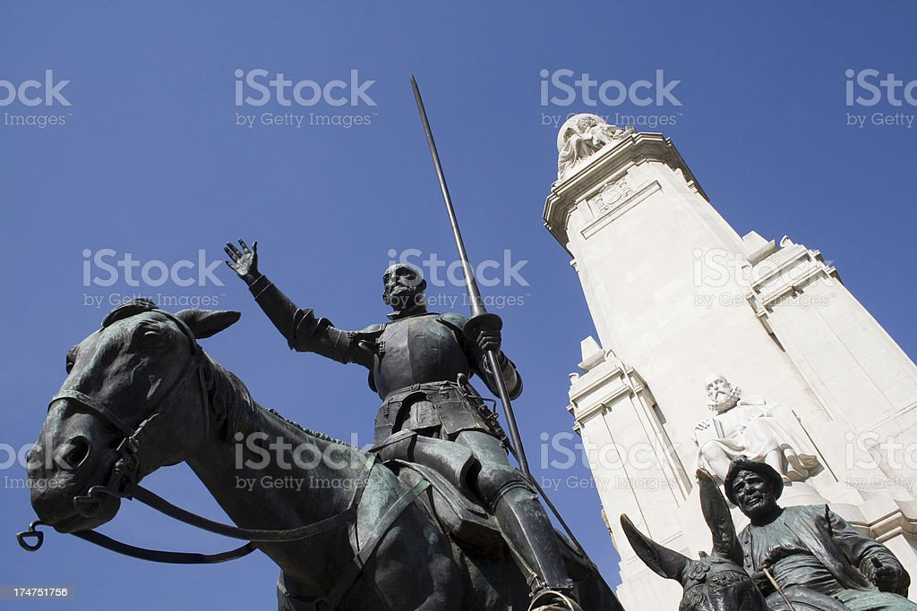 Cervantes Monument - Plaza de Espana (Madrid) stock photo