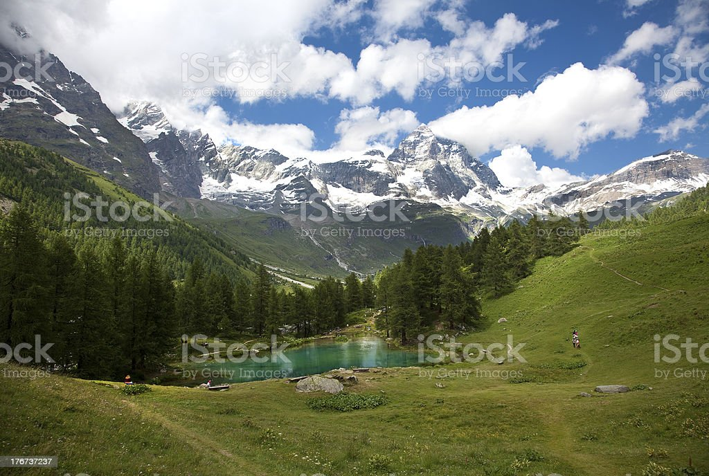 Cervinia, Valle d'Aosta, Italy (Lake blue) royalty-free stock photo