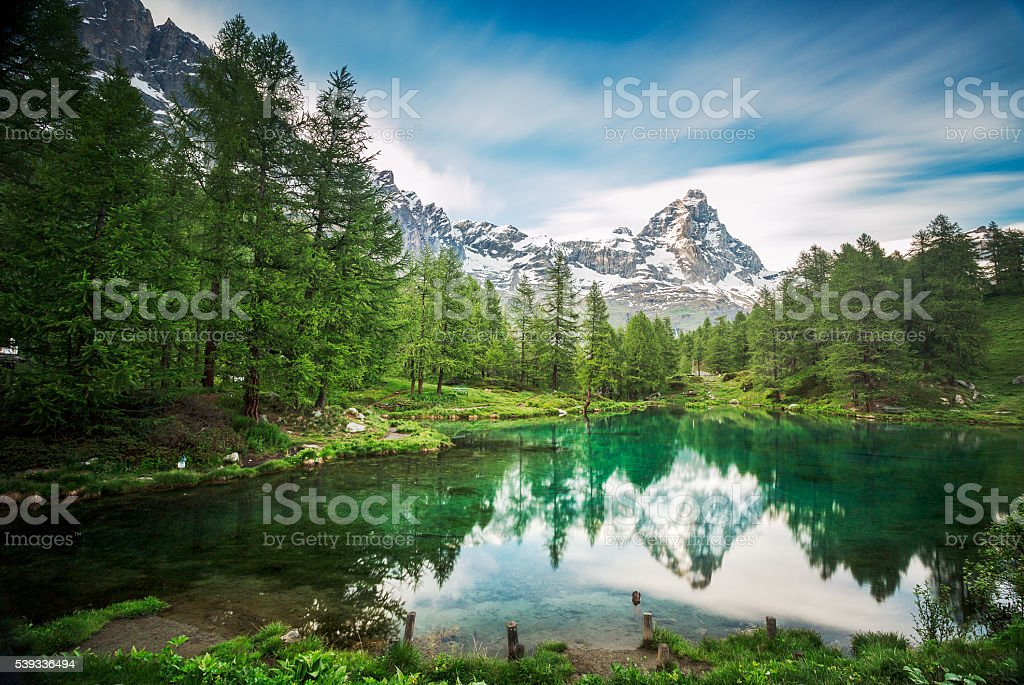Cervino/ Matterhorn peak in Breuil-Cervinia, Valtournenche, Aosta Valley, Alps, Italy stock photo