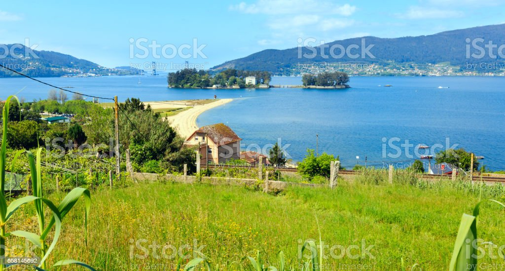Cesantes beach (Galicia, Spain). stock photo