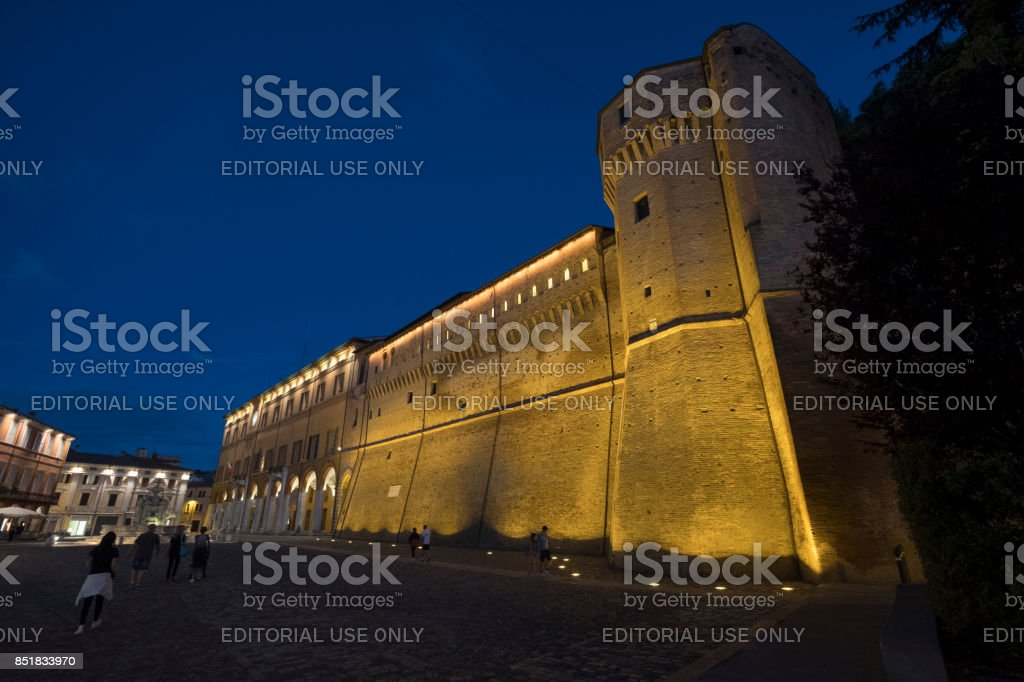 Cesena (Italy): the castle at evening stock photo