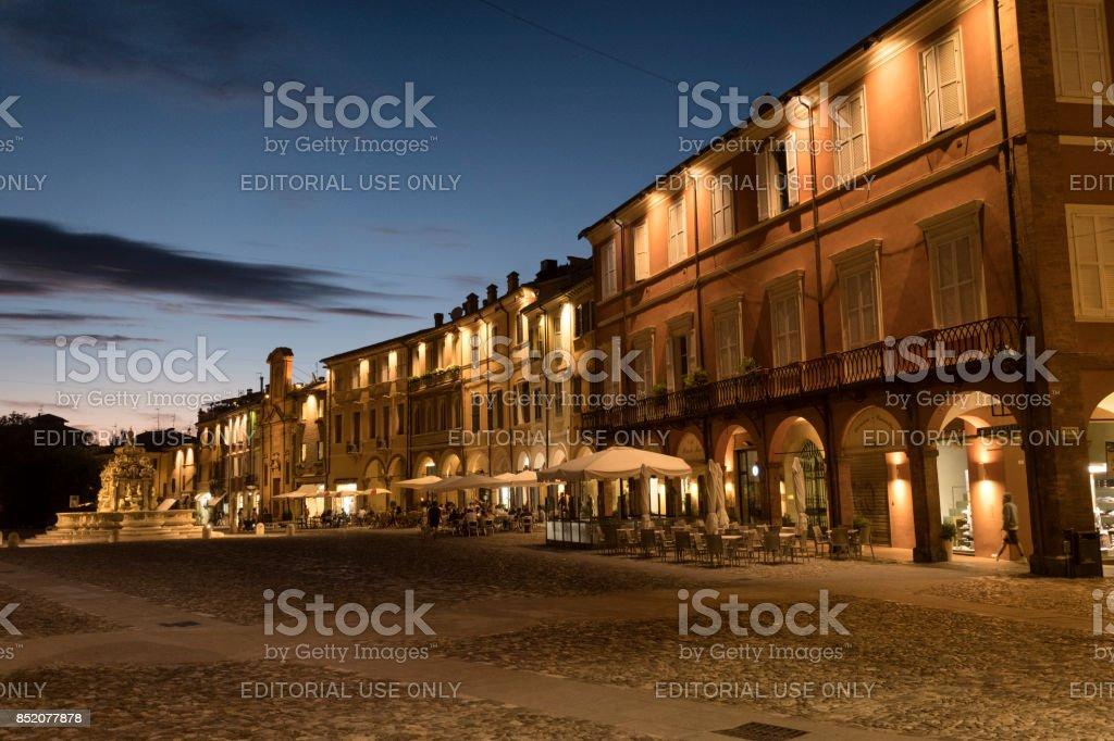 Cesena (Italy): the city at evening stock photo