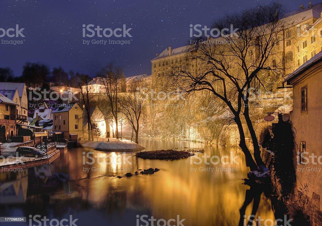 Cesky krumlov at winter, night before christmas royalty-free stock photo