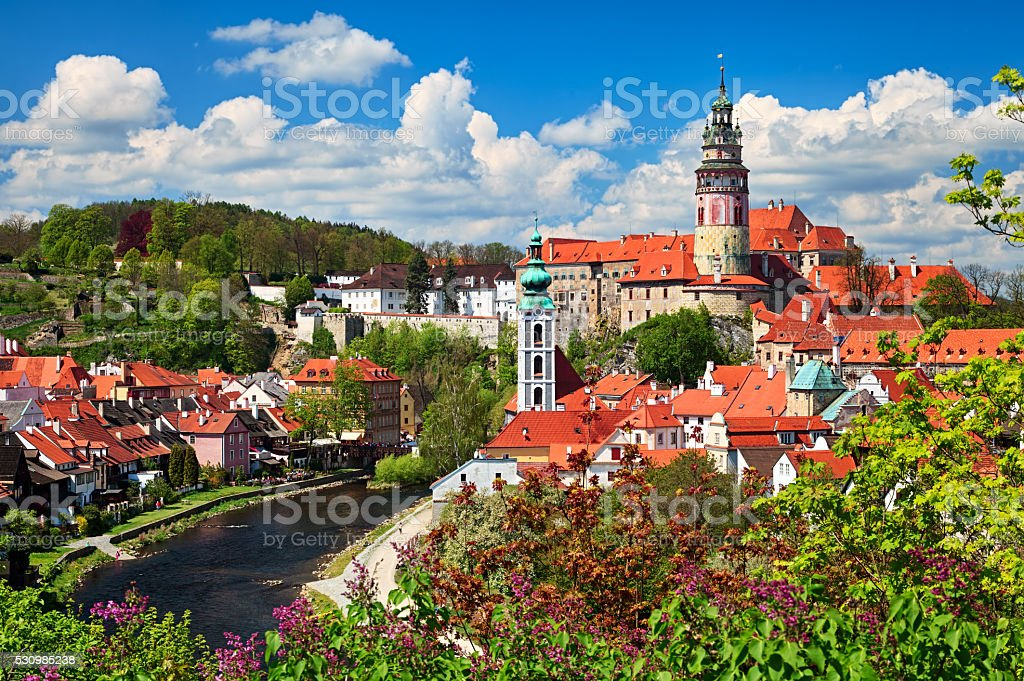Cesky Krumlov cityscape stock photo