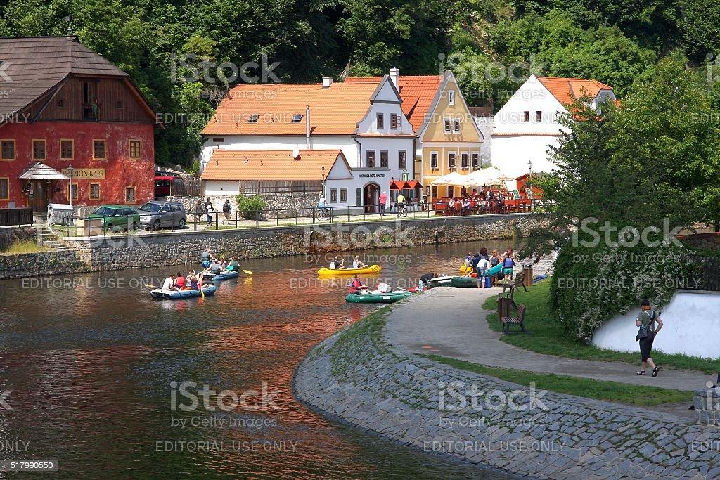 Cesky Krumlov - kayaks & pontoons on Vltava river stock photo