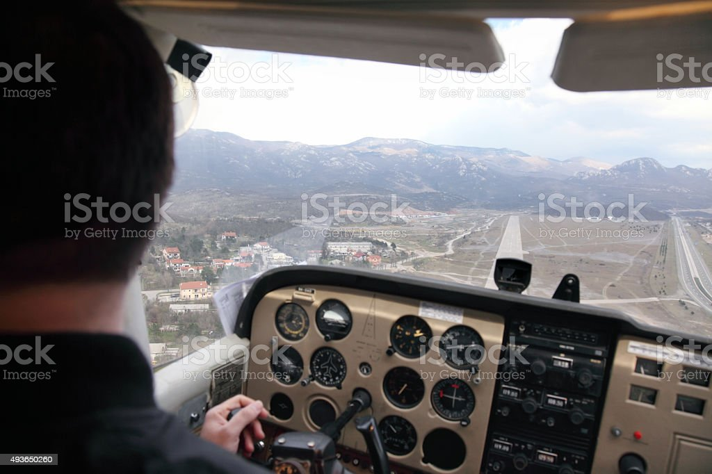 Cessna 107 cockpit stock photo