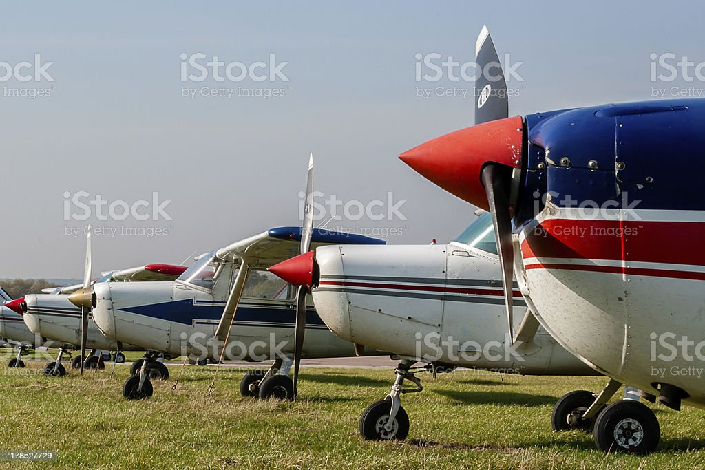 Cessna 152s Tied Down and Parked at Private Airfield stock photo