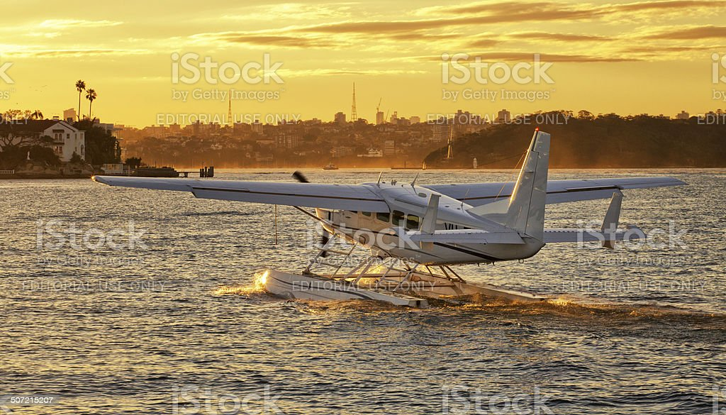Cessna 208 seaplane takes off from Rose Bay, Sydney stock photo