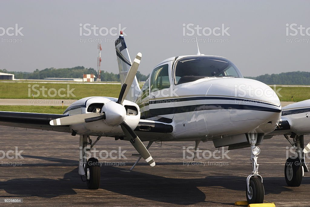 Cessna 310 Airplane on Runway stock photo