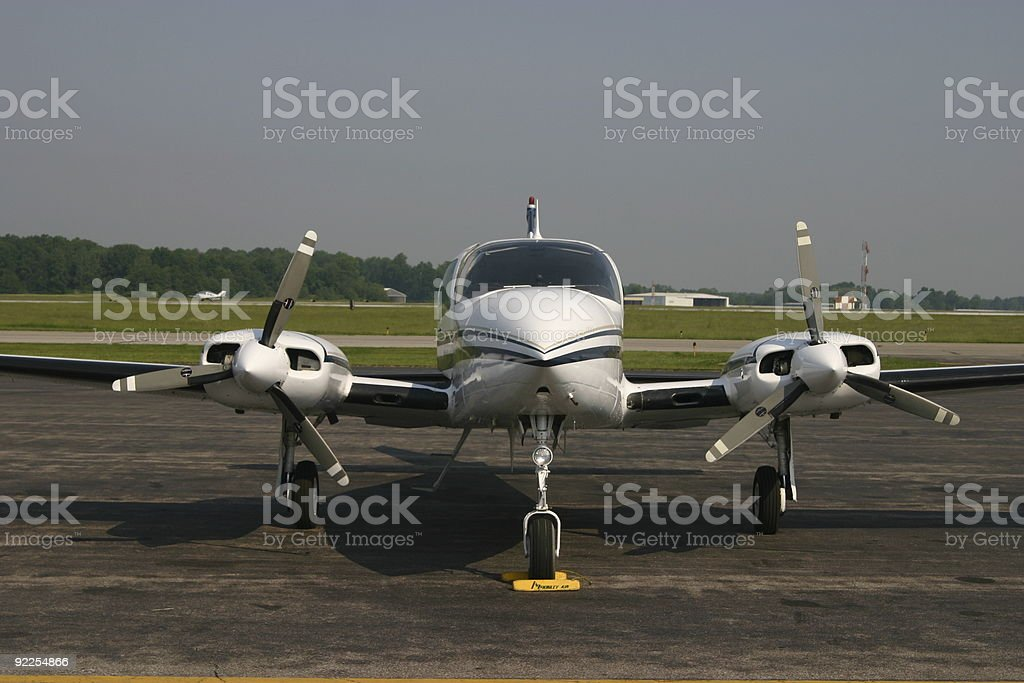 Parked prop plane stock photo