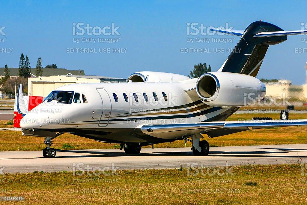 Cessna 750 corporate jet taxiing at Sarasota airport, Florida stock photo