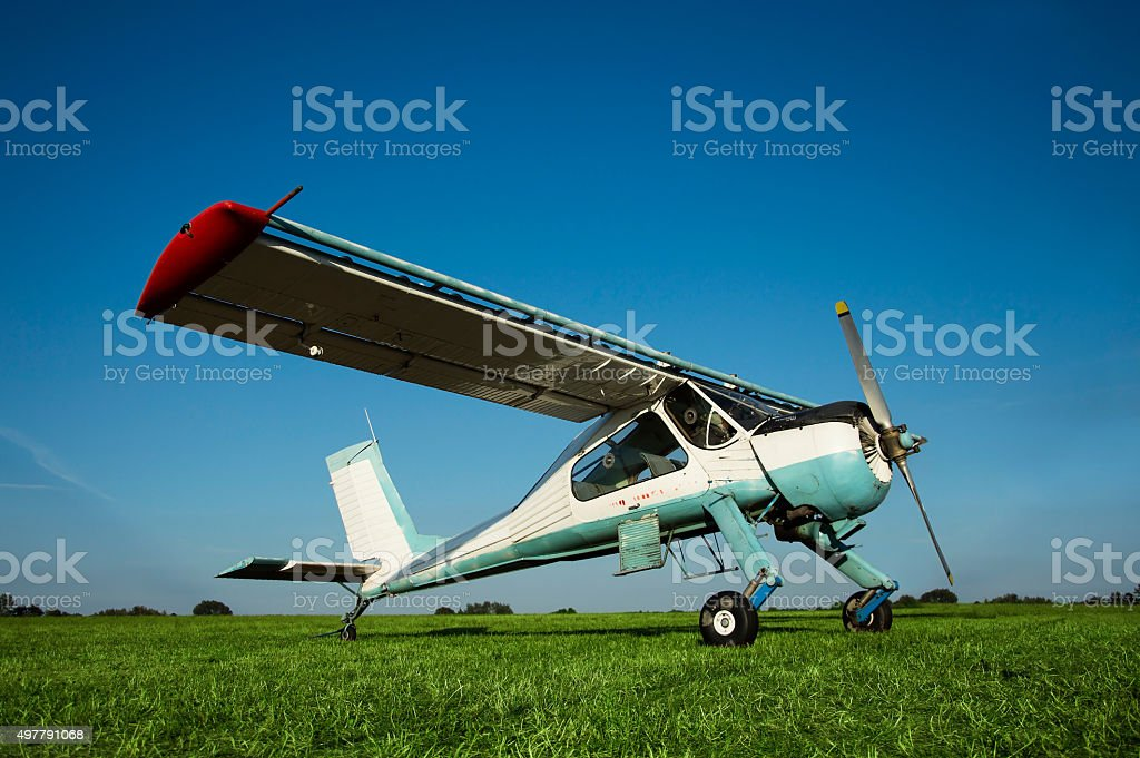 Cessna, a successful landing at the airport. stock photo