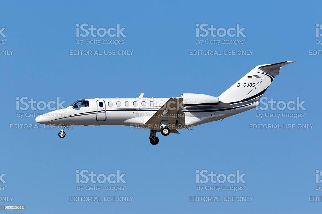 Cessna Business Jet landing. stock photo