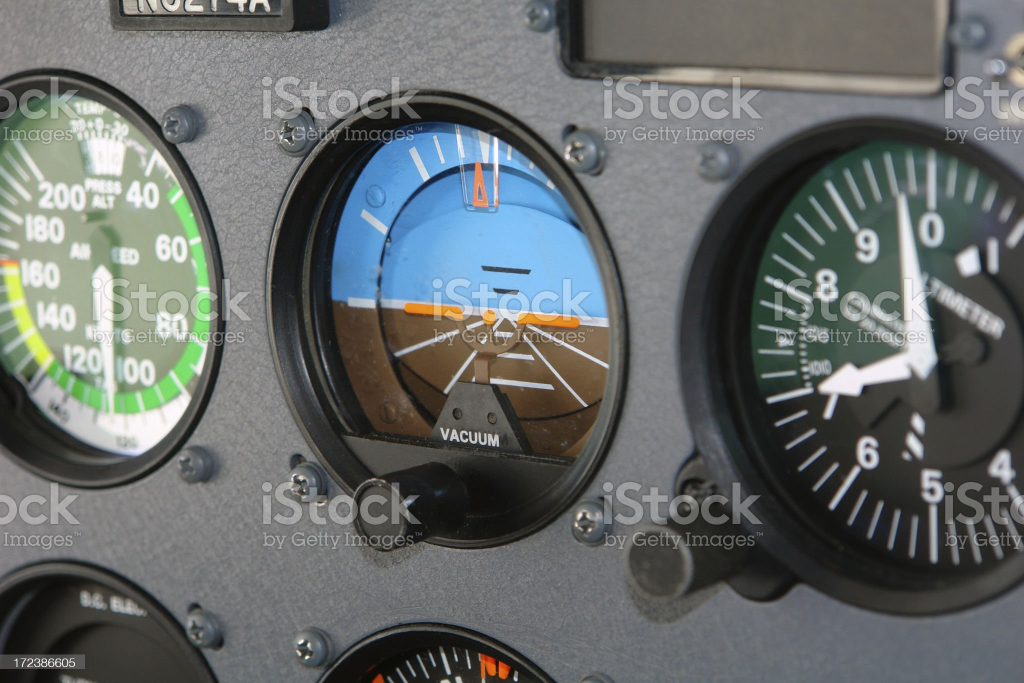 Cessna Cockpit Interior of an Airplane royalty-free stock photo