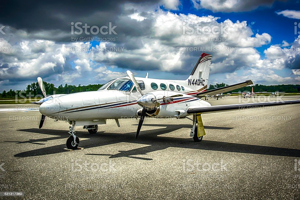 Cessna Golden Eagle civil aircraft at St.Clair county airport, MI stock photo