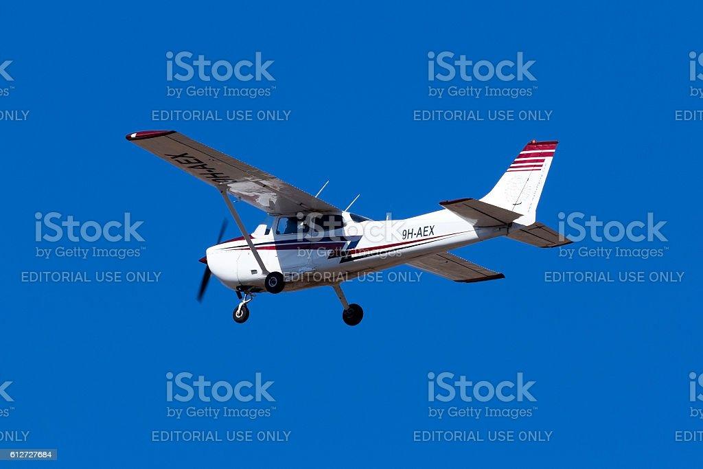 Cessna Skyhawk variant on training flight stock photo