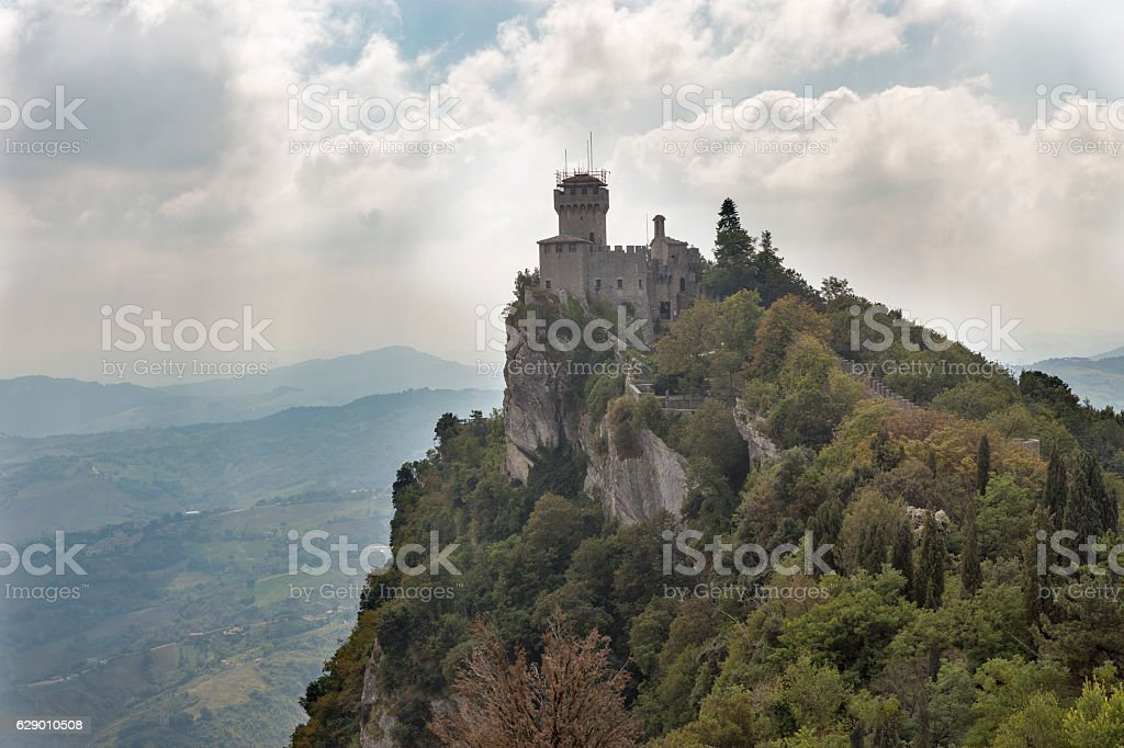 Cesta tower, one of three fortress in San Marino. stock photo