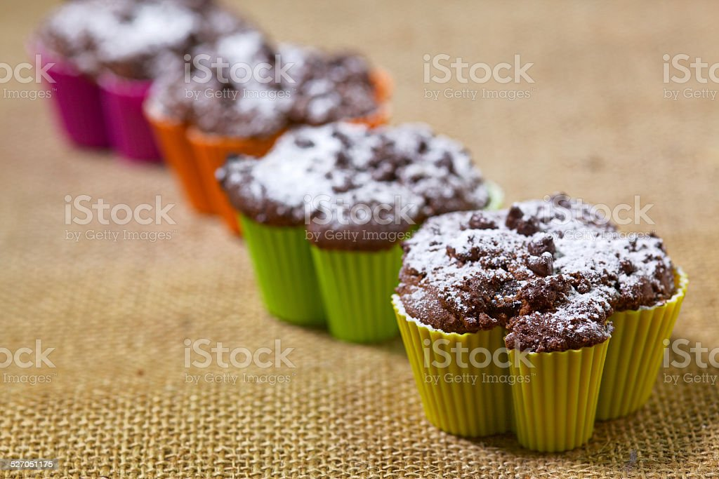 Cestnut and chocolate muffin stock photo