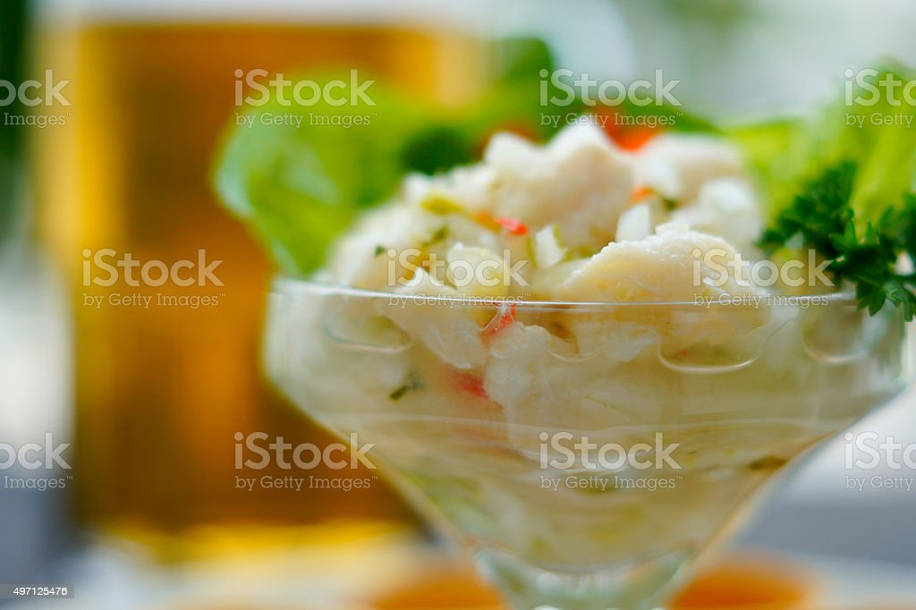 Ceviche and Beer stock photo