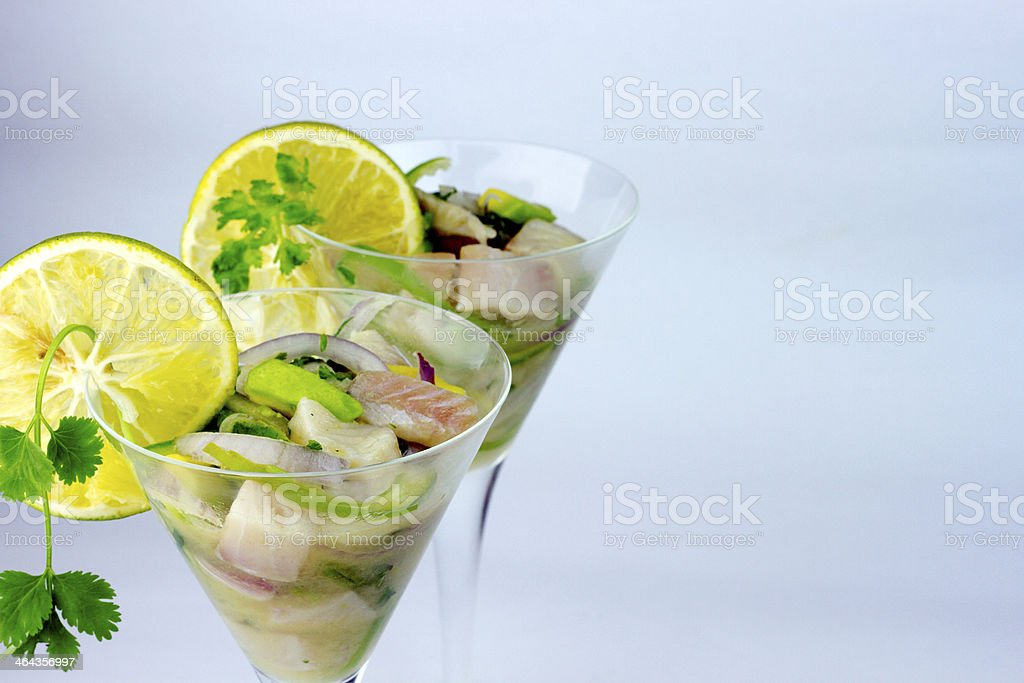 Ceviche with Avocado in Martini Glass stock photo