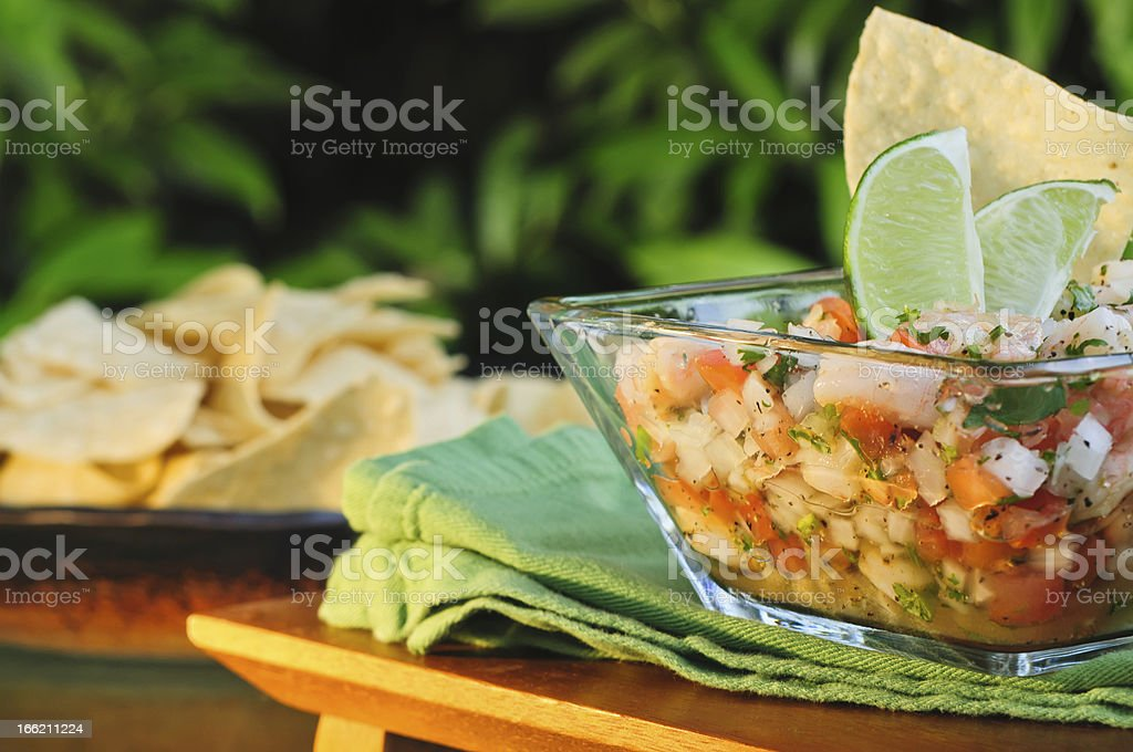 Ceviche with lime and tortilla chips stock photo