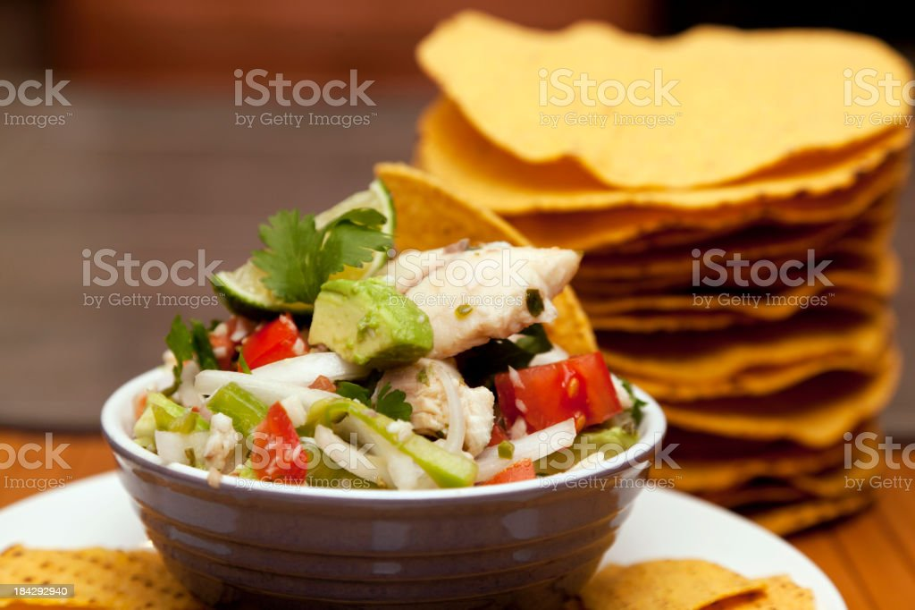 Ceviche with Tostadas stock photo
