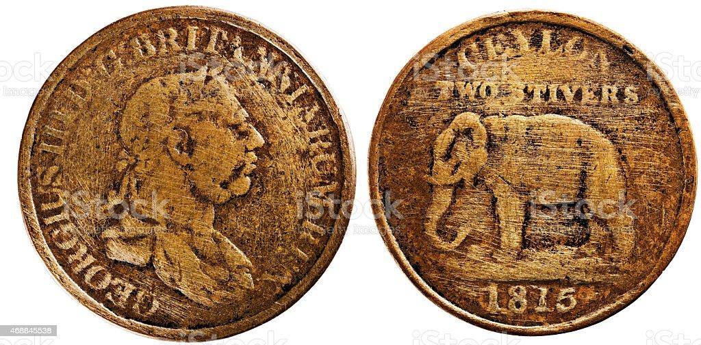 Ceylon 1815, two stivers, King George III, reverse Elephant stock photo