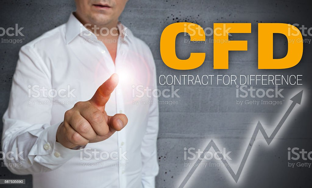 cfd touchscreen is operated by man concept stock photo