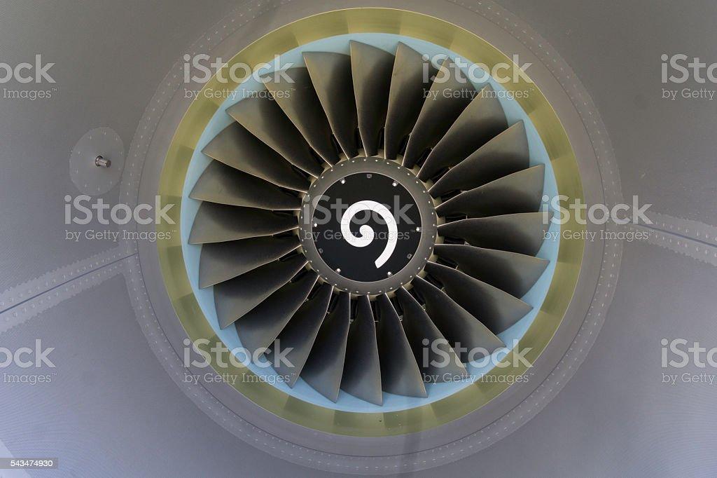 cfm56 Jet engine turbine fan blades stock photo