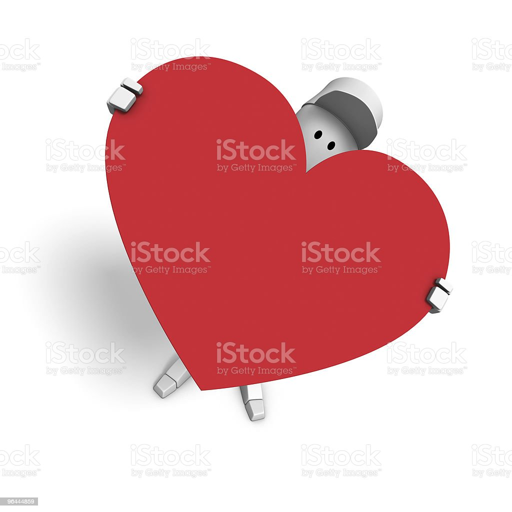 cg character holding a heart-shaped sign royalty-free stock photo