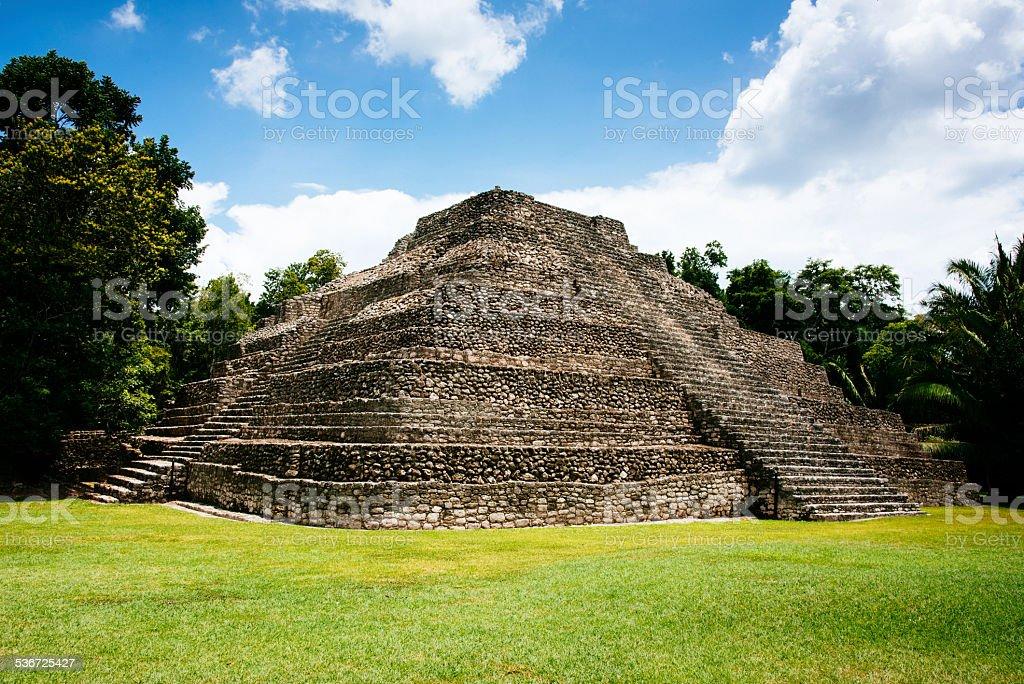 Chacchoben Mayan Pre-Columbian Pyramid Mexico stock photo