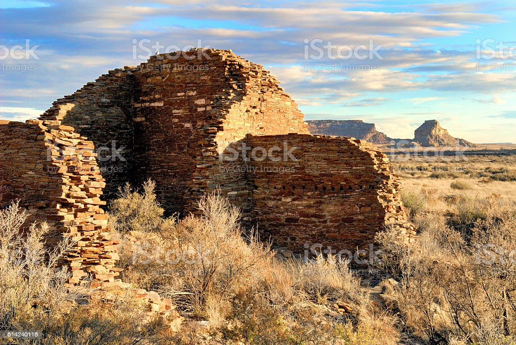 Chaco Canyon, Hungo Pavi Ruin and Fajada Butte stock photo