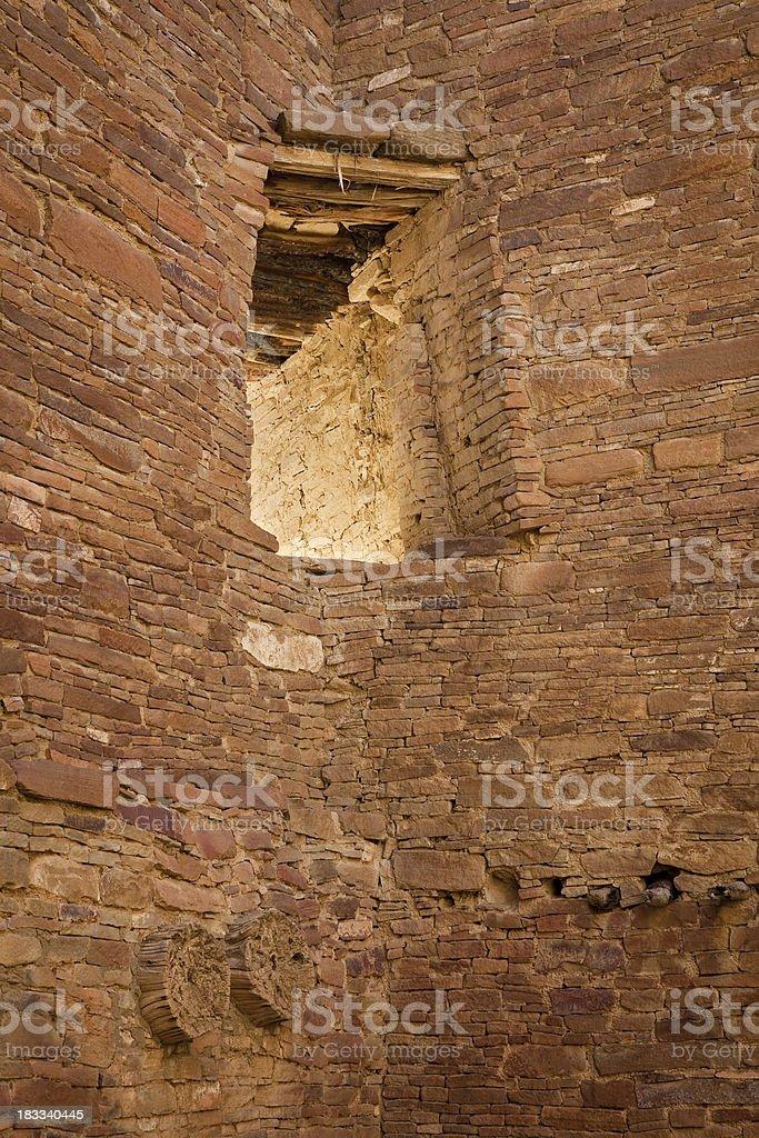 Chaco Canyon Window and Masonry stock photo