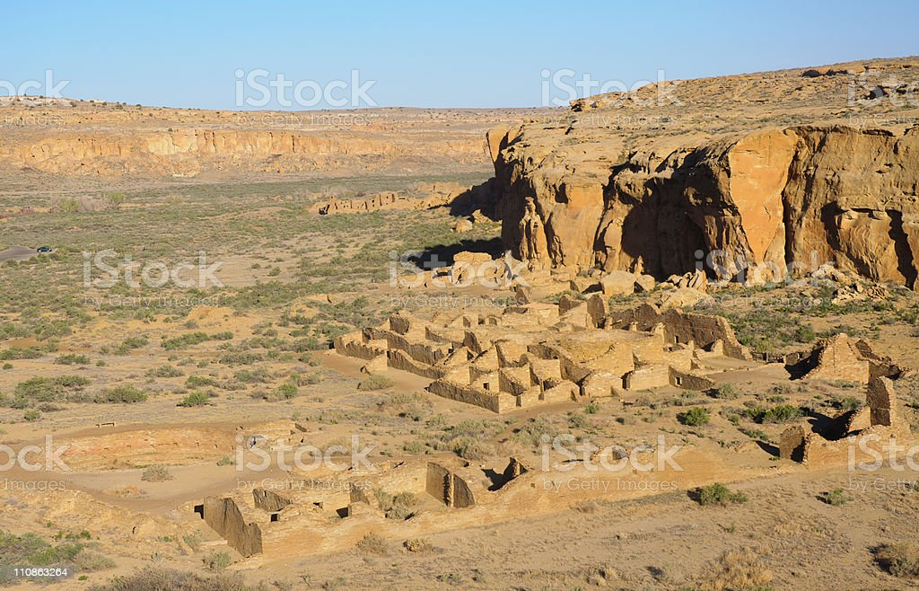 Chaco Culture National Historical Park ruins stock photo