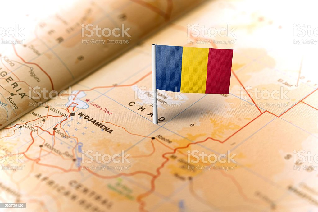 Chad pinned on the map with flag stock photo