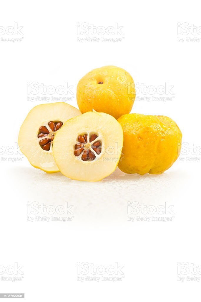 Chaenomeles japonica. Japanese Flowering Quince golden yellow fruits, white background stock photo