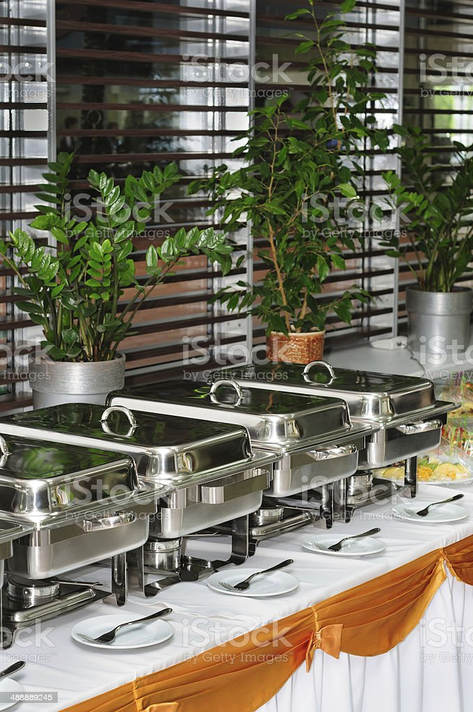 chafing dish heaters stock photo
