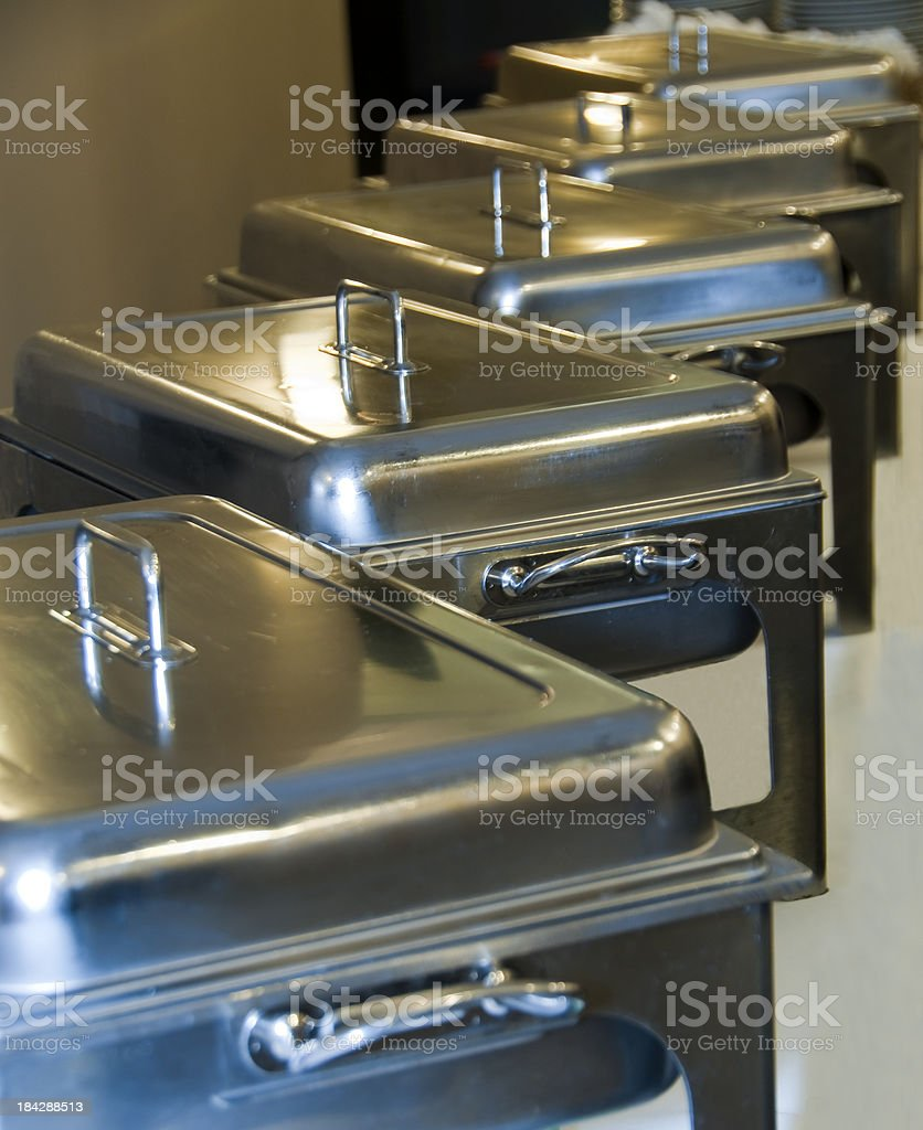 Chafing dishes in a row stock photo