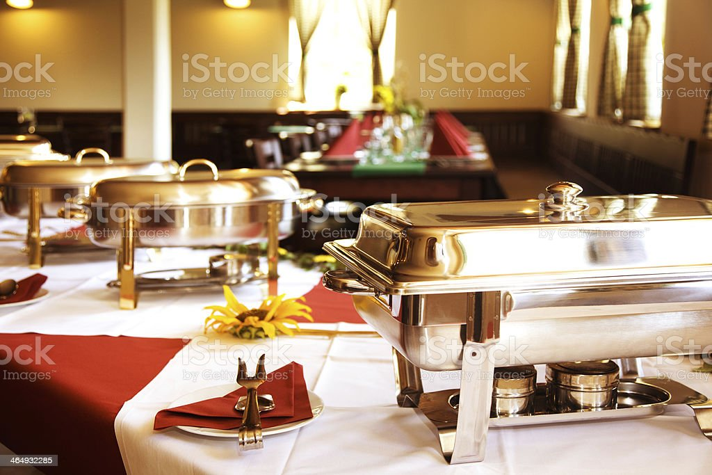 chafing dishes in line stock photo