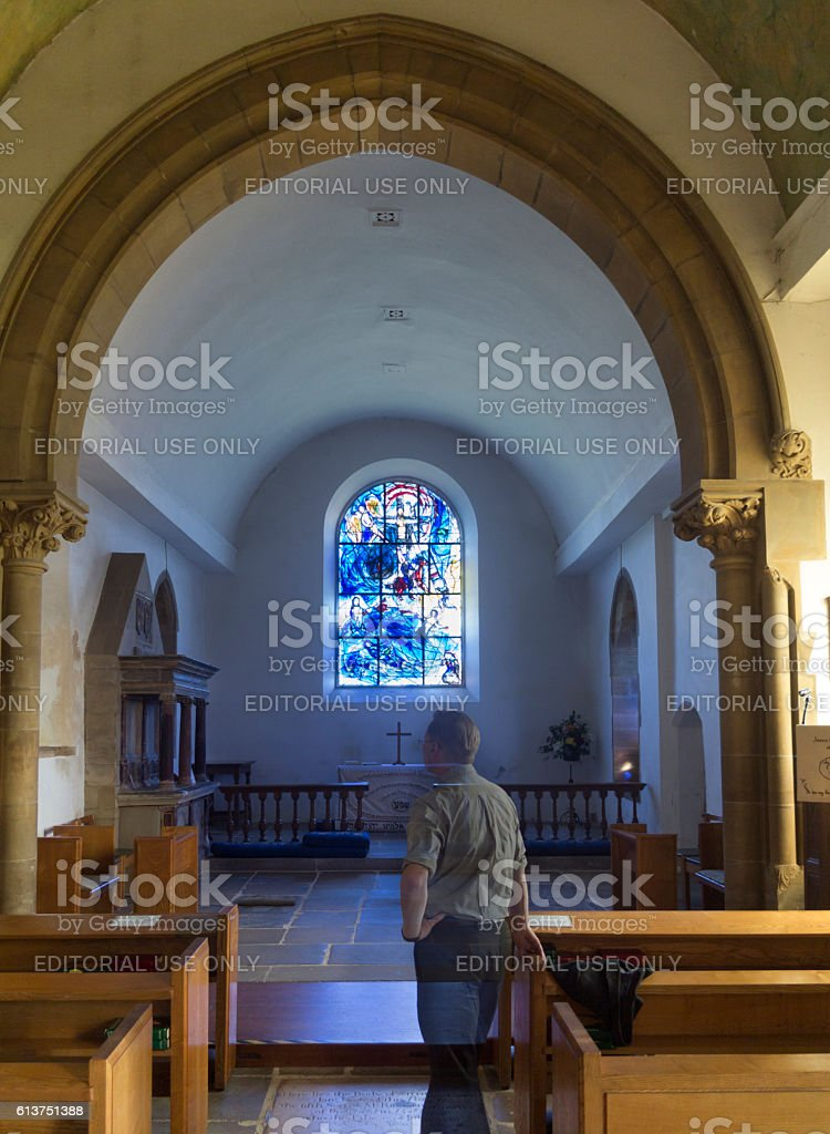 Chagall window in All Saints Church, Kent, UK stock photo