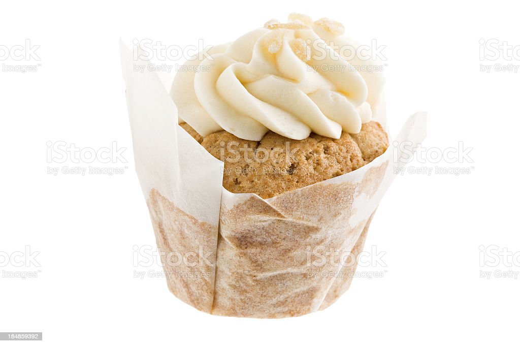 Chai Cupcake In a Wrapper And Topped With Crystalized Ginger royalty-free stock photo